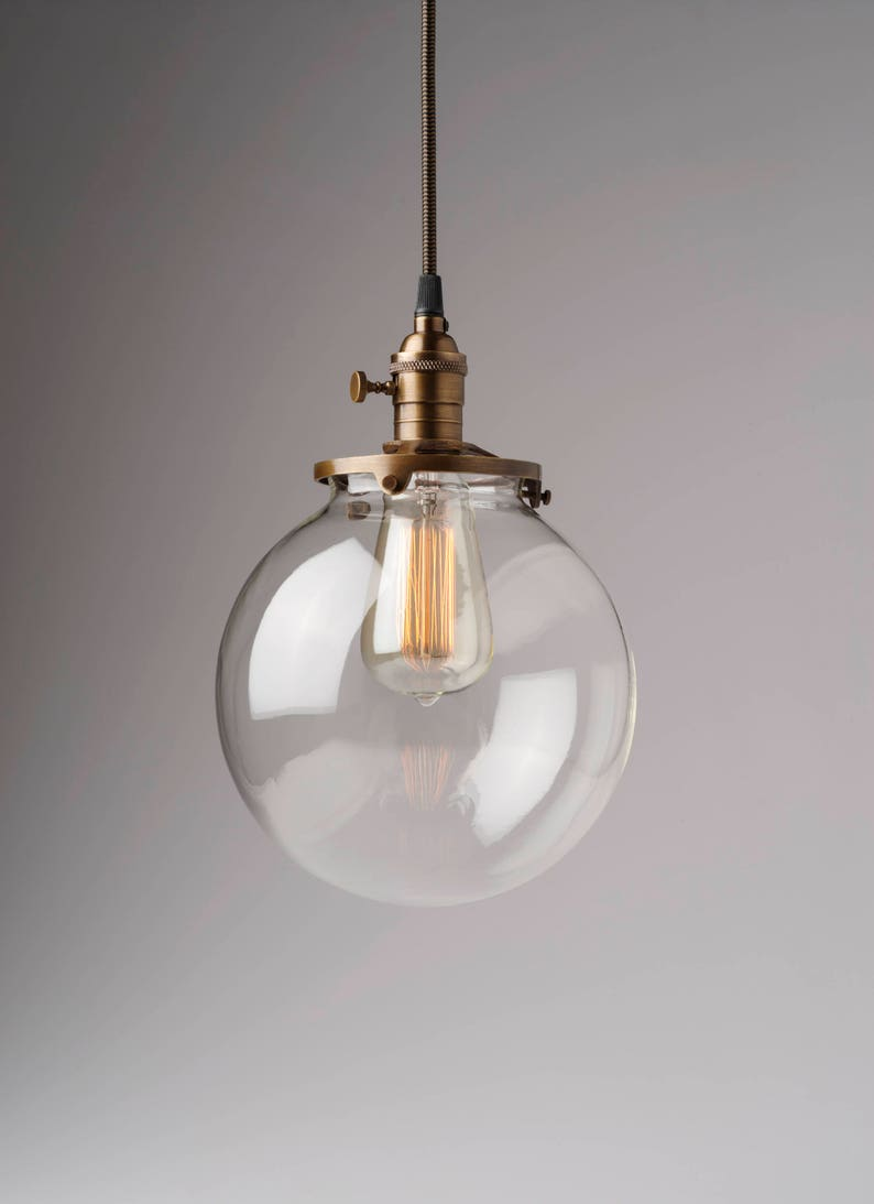 Clear glass globe pendant light fixture with 8 shade hand blown glass