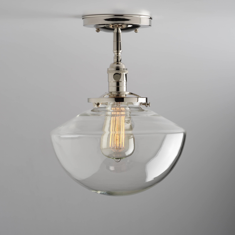 Angled Schoolhouse Glass Shade Flush Or Semi-Flush Mount