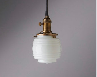 Jelly Jar -  White Glass -  Pendant Light Fixture   ** USA handblown glass **  Milk glass lighting
