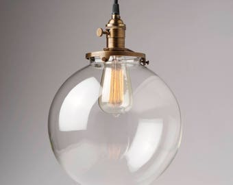 "Glass Globe Pendant Light Fixture 10"" Hand Blown Glass Globe"