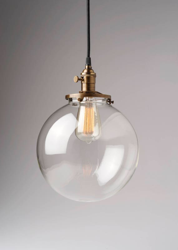 Glass Globe Pendant Light Fixture 10 Hand Blown Glass Globe