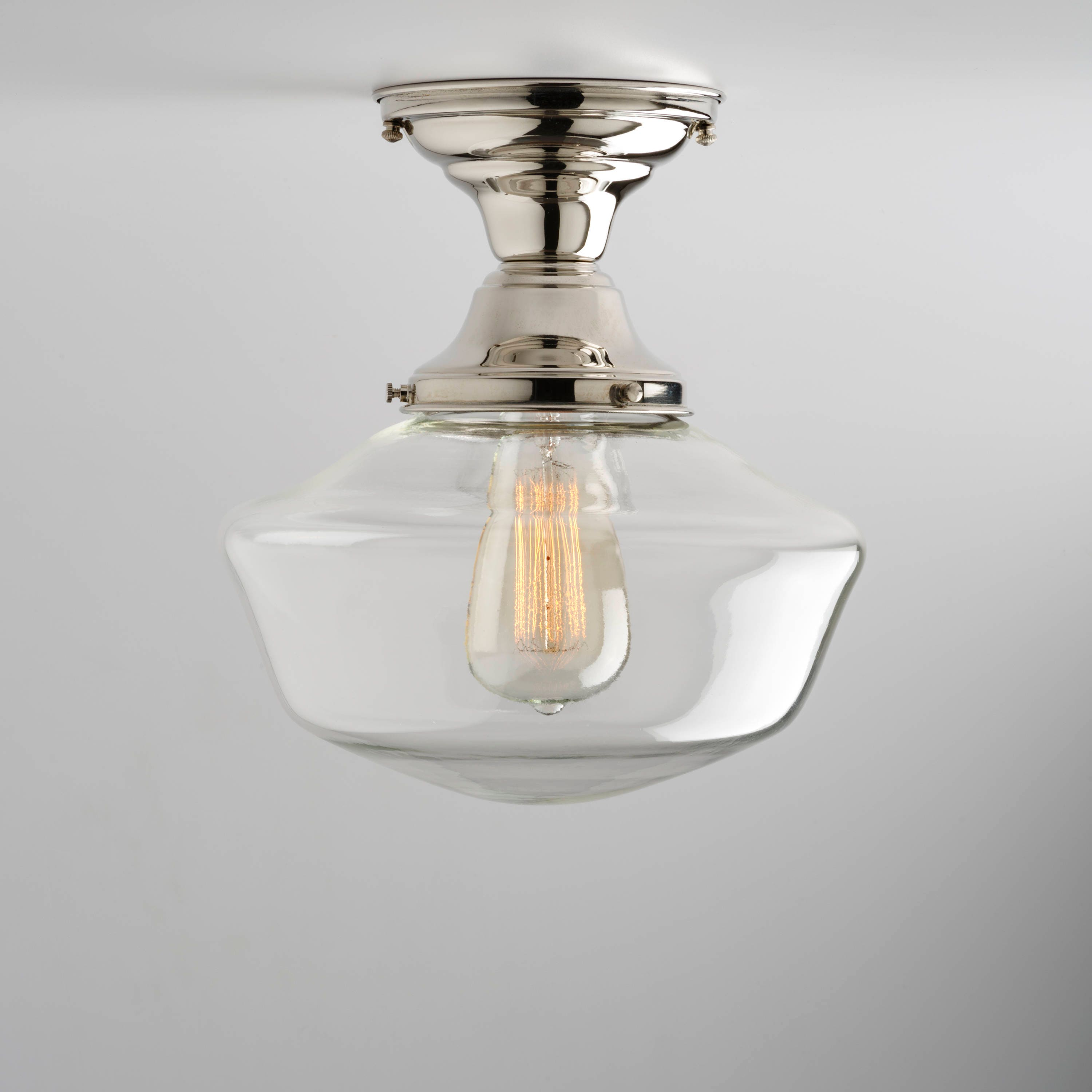 Clear 10 Glass Globe Schoolhouse Shade Flush Mount Etsy