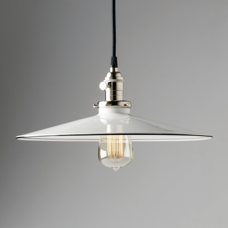 14 white pendant light fixture flat metal porcelain enamel vintage industrial fixture