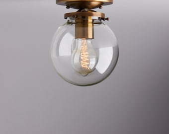 """Clearance/2nds     6"""" Clear Glass Schoolhouse Flush Mount Light Fixture  **handblown glass, made in america**"""