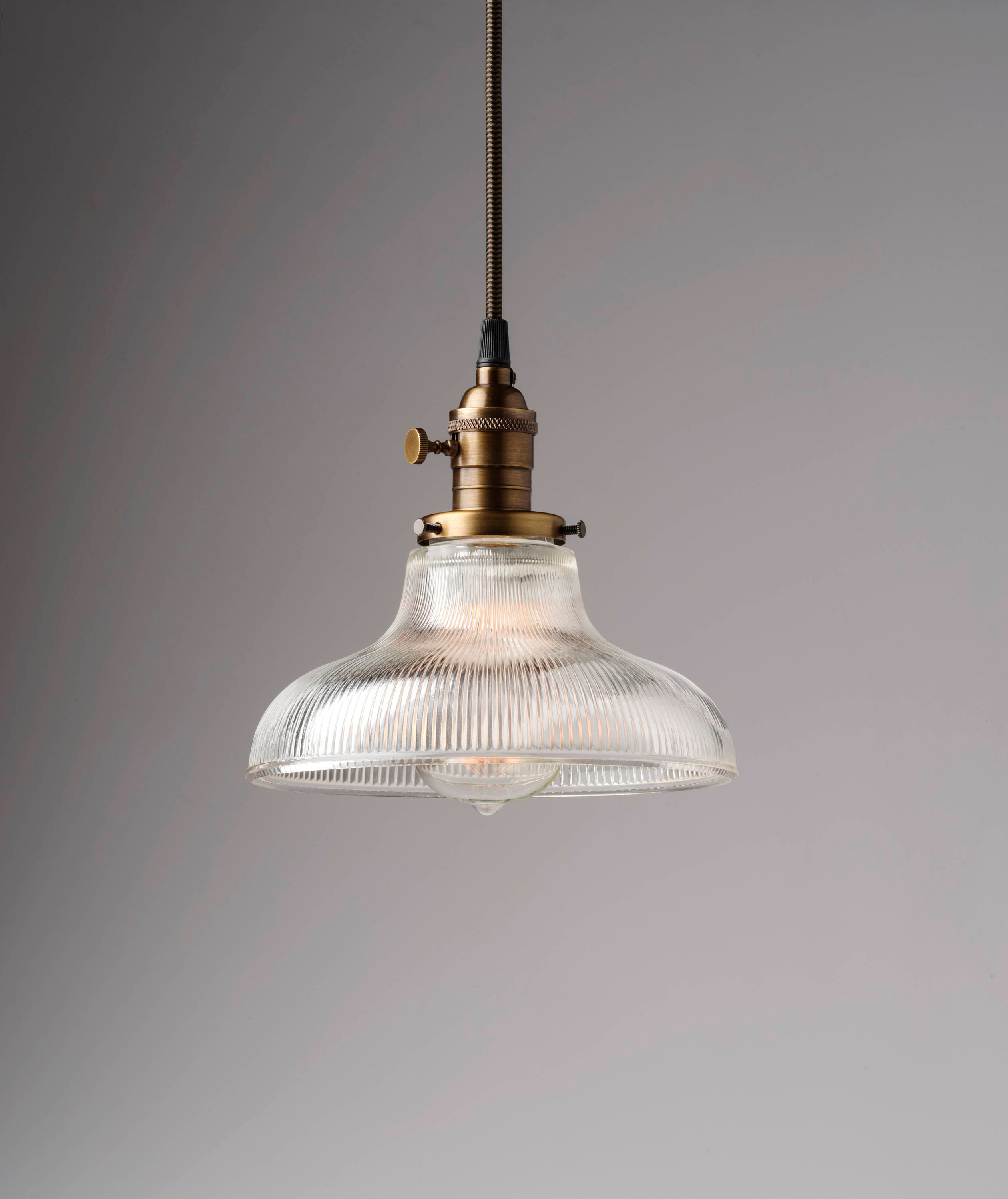 Ribbed Glass Bell Shade Pendant Light