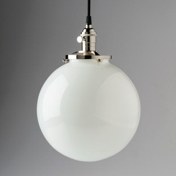 10 White Glass Globe Pendant Light Fixture U S Made Hand Blown Glass