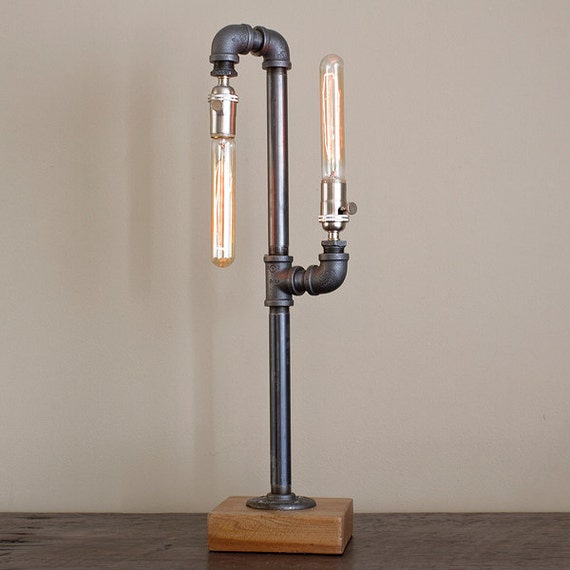 Industrial Table Lamp With Double Light Pipe Fixture Etsy