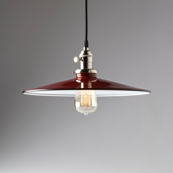 Pendant Light Fixture 14 Flat Metal Porcelain Enamel Red