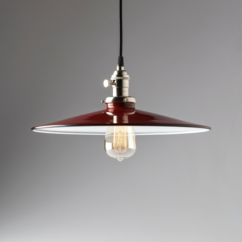 Pendant light fixture 14 flat metal porcelain enamel red vintage industrial