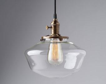 "10"" Clear Glass Globe Schoolhouse Pendant Light Fixture"