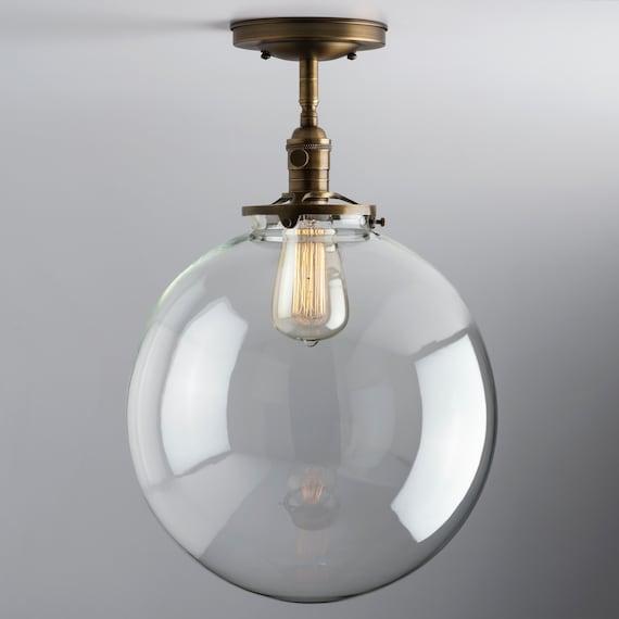 Large Clear Glass Globe Flush Mount Light 12 Glass Globe Etsy