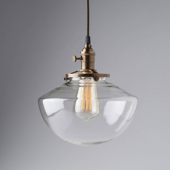 Angled Clear Glass Vintage Industrial Pendant Light Fixture Etsy