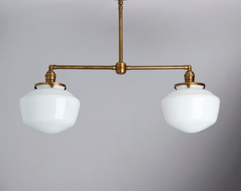 """2 Light Pendant Chandelier with 8"""" White Schoolhouse Shades  **USA handblown glass **"""