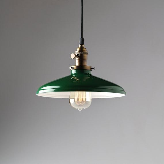 Industrial Pendant Light Green: Pendant Light Fixture Green Vintage Style Industrial Metal