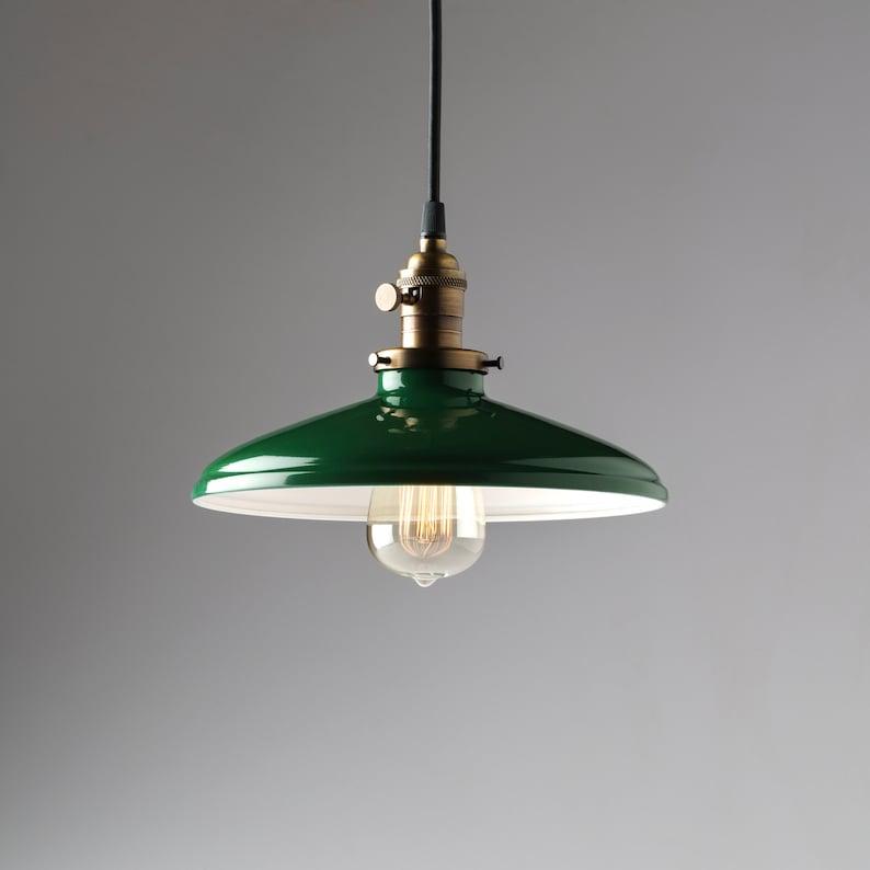 Métal Industriel Vintage Style Luminaire Vert Suspendu Ombre wNm0y8Ovn