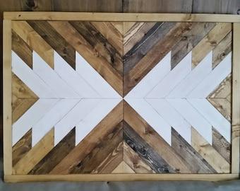 Wooden Arrow Framed Wall Hanging - Native Tribal Geometric