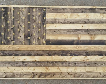 Wood Lath American Flag Art Picture