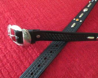 Handmade new western glass studded belt