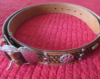 Handmade vintage reproduction real glass studded jeweled cowboy leather belt