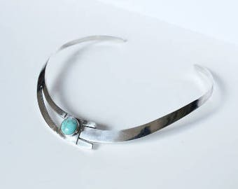1960's Turquoise Choker // Taxco Style Solid Silver Collar Necklace // Art Deco Revival Sterling Necklace