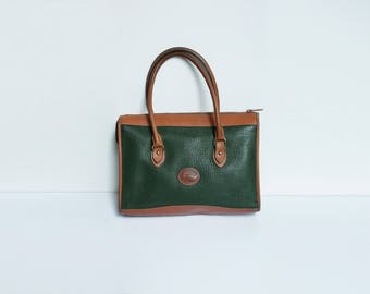 Dooney and Bourke Satchel // Vintage Hunter Green and Tan Pebbled Leather Handbag // Authentic Dooney All Weather Leather Purse