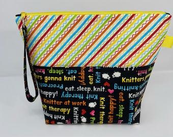 Knit Happy Knitting Sayings (Black) and Diagonal Yarn Stripes