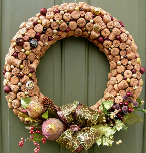 Cork Wreath: Items Similar To Champagne Kisses Cork Wreath On Etsy