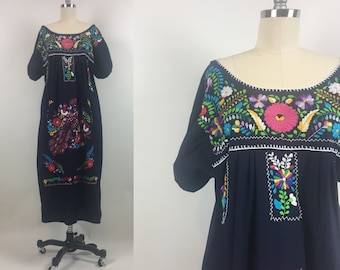 e95f389f9dc 1970s Embroidered Peasant Dress   Vintage 70s Peacock Floral Embroidered  Oaxaca Mexican Dress