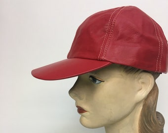 381f2e7e0ee5 Vintage Red Leather Baseball Hat   Wilsons Red Leather Cap   Vintage  Activewear Sportswear