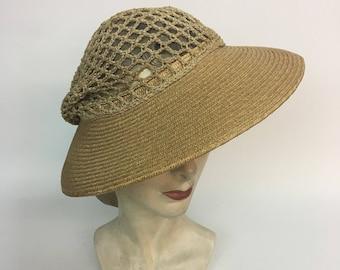 73520904 vintage Straw Sun Hat Knit Snood / vintage 1930s Summer Straw Sun Hat Open  Net Snood