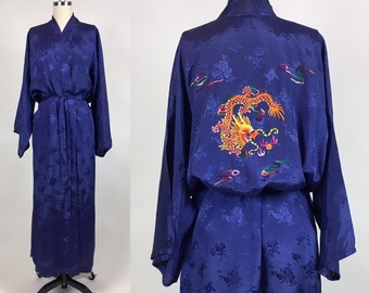 Vintage Embroidered DRAGON Robe   Vintage Blue Brocade Chinese Dragon  Lounge Robe f18c7a30f