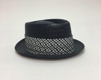 vintage 60s Mens Black Straw Porkpie Hat   Vintage 1960s Black Straw Short  Brim DOBBS Summer Porkpie Hat 1ea981762456