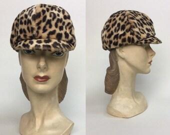 20b40fc8 vintage 1960s LEOPARD Hat / vintage 60s Leopard MOD Cap Hat