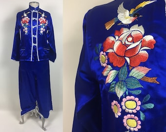 071da5a258 vintage 40s Loungewear Set   1940s Blue Silk Satin Hand Embroidered Flowers Chinese  Pajama Set