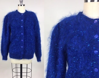 7ab68e8f7ee vintage Sparkly MOHAIR Sweater   Vintage 80s Oversized Blue Foil Lame  Cardigan Sweater