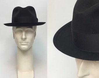 ce34e9e0d68 Vintage Stetson Fedora   vintage 1940s Brown Sovereign Fur Fedora Hat 7 1 8