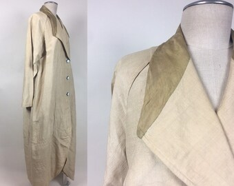 e0c3ba0a4d1 Vintage Ivory Silk Duster Driving Coat / Rare antique Full Length Silk Maxi  Duster Coat