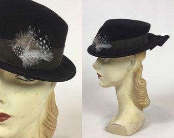 vintage 30s 40s Women s Fedora Hat   vintage 1930s 1940s Ladies Men s Style  Hat d37b67fb2471