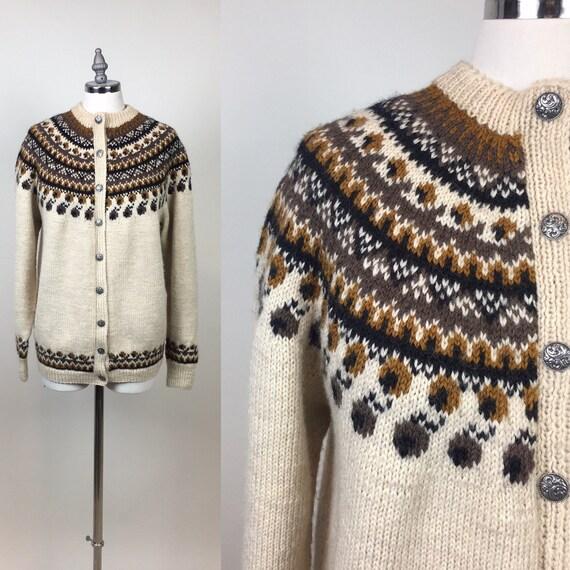 Vintage 1960s Norway Fair Isle Hand Knit Wool Card