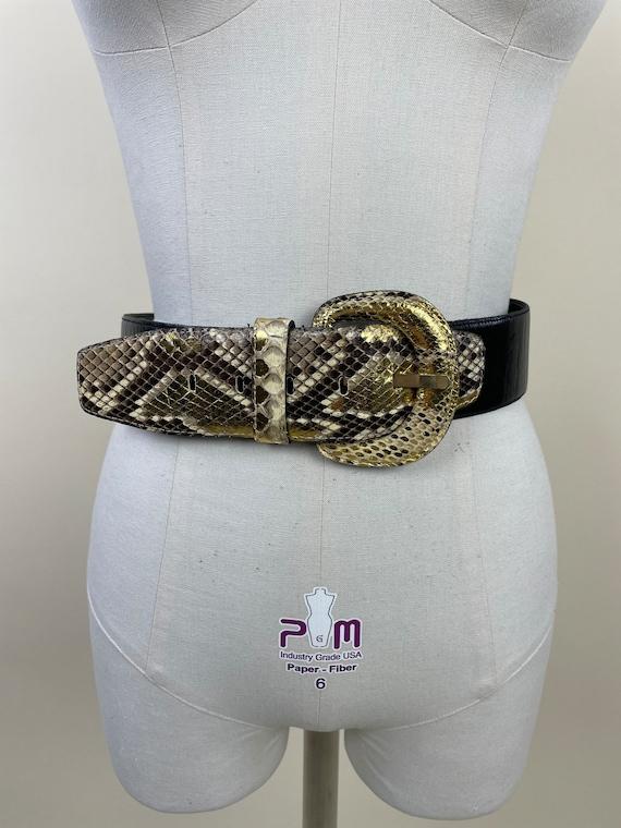 Vintage 1980s Wide Black Gold Snakeskin Dress Bel… - image 2