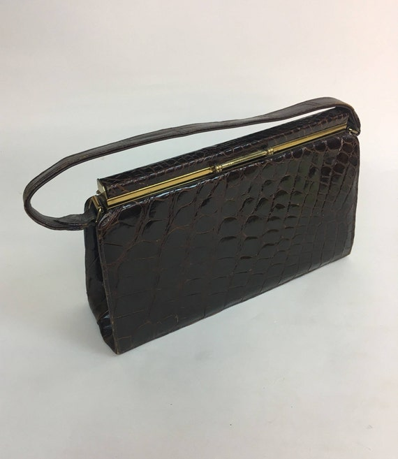 vintage 1950s Brown Top Handled Handbag Purse / v… - image 2