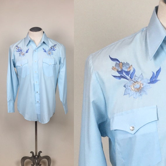 vintage 1970s Baby Blue Embroidered Cowboy Wester… - image 1