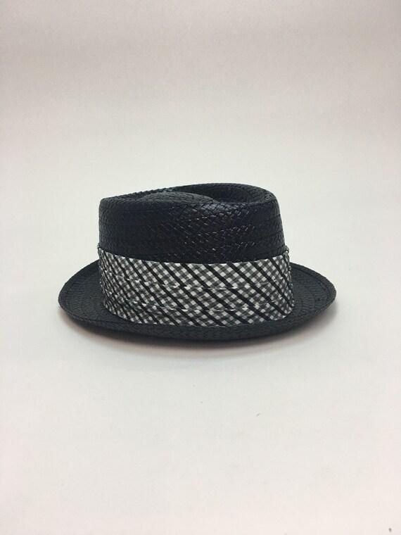 vintage 1960s Mens Black Straw Summer Hat   Vintage Black  0d92250eb51b