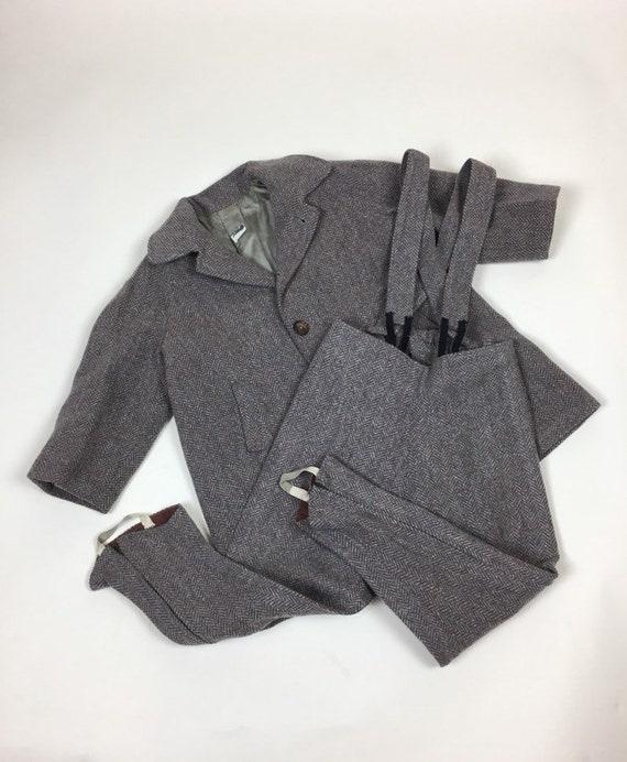 Vintage 1940s Boys Tweed Coat Pantsuit Set / vint… - image 1