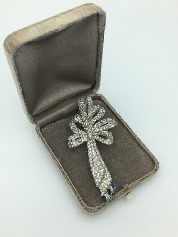 Vintage 1920s Art Deco Rhinestone Bow Pin Brooch … - image 1