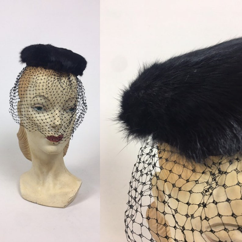32ad0f1e362 Vintage Mink Pillbox Veiled Hat   Vintage 1960s Black Pillbox