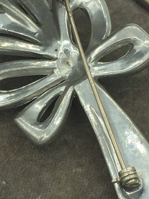 Vintage 1920s Art Deco Rhinestone Bow Pin Brooch … - image 6