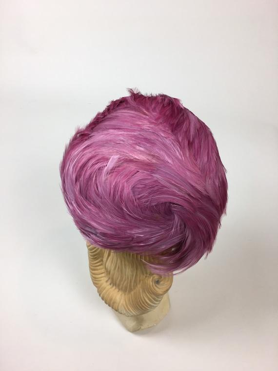 vintage 1950s Pink Feather Hat / vintage 50s Pink… - image 5