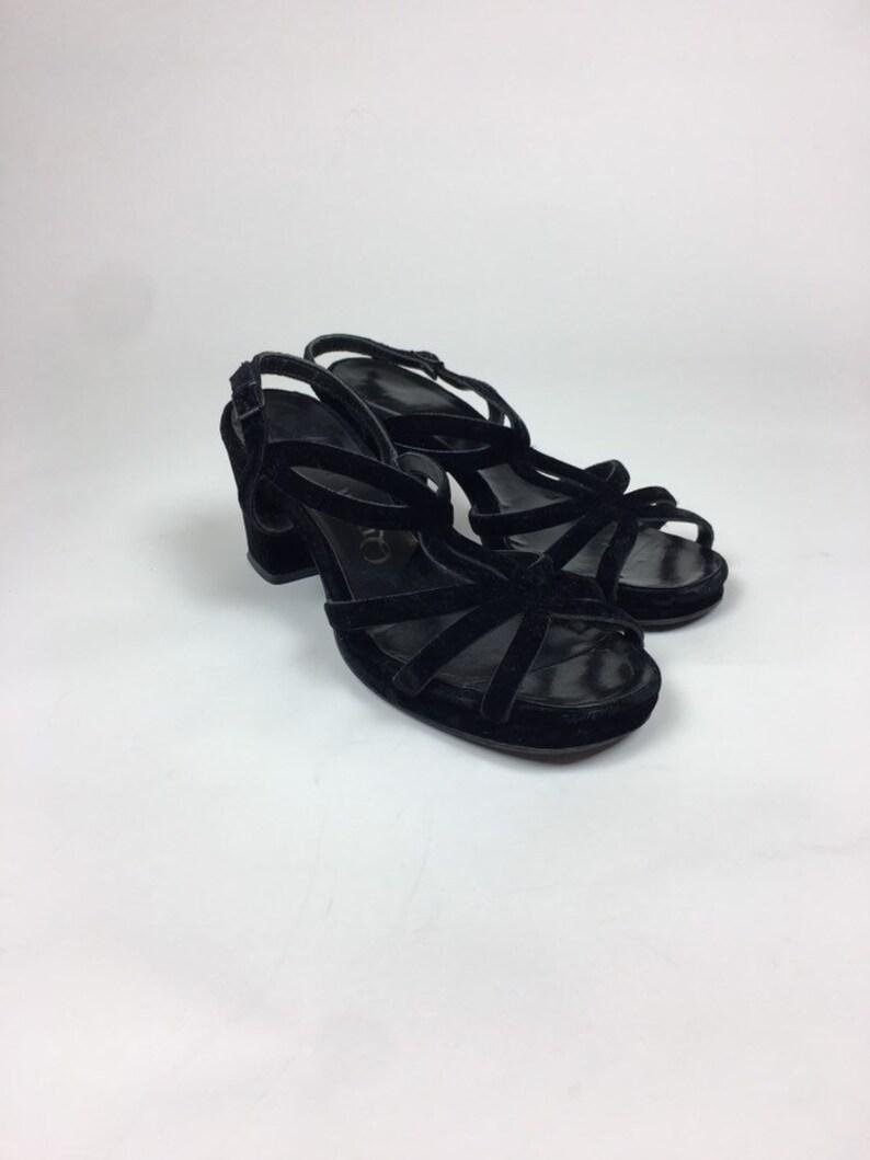 9a75710e1 Vintage 70s Velvet Platform Sandals / vintage 1970s Black | Etsy