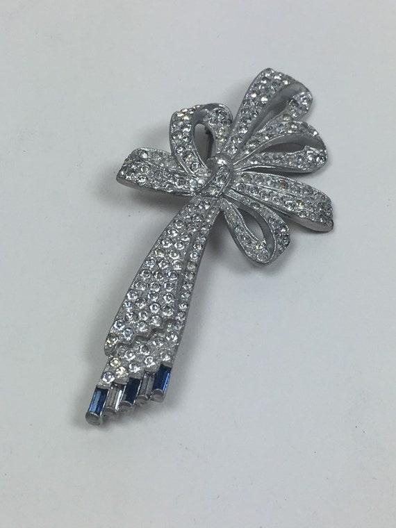 Vintage 1920s Art Deco Rhinestone Bow Pin Brooch … - image 7
